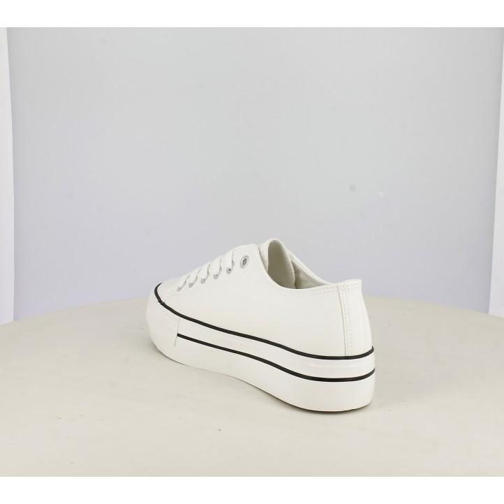Zapatillas deportivas STAY blancas bajas de plataforma con cordones - Querol online
