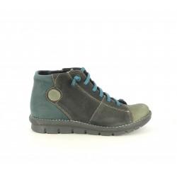Zapatos planos ALCE verdes y negros de piel con cordones elásticos - Querol online