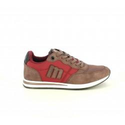 Zapatillas deportivas Mustang rojas con detalles marrones y cordones - Querol online