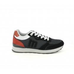 Zapatillas deportivas Mustang negros y rojos con cordones - Querol online