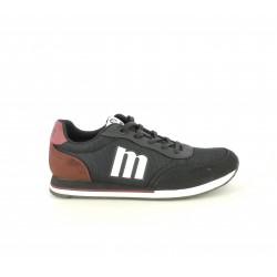 Zapatillas deportivas Mustang negras de cordones con detalles rojos y blancos - Querol online
