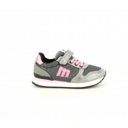 Zapatillas deporte Mustang grises metalizadas con detalles en rosa, cordones y velcro - Querol online