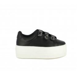 Zapatillas deportivas Victoria negras de piel con velcros y plataforma blanca - Querol online