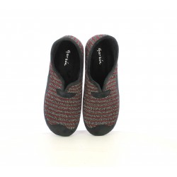Zapatillas casa Garzon rojas, negras y grises de rayas - Querol online