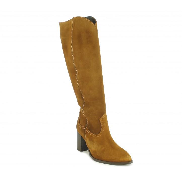 Botas tacón Redlove altas marrones de piel con cremallera lateral - Querol online