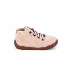 Zapatos abotinados Vul·ladi rosas de piel con cordones elásticos - Querol online