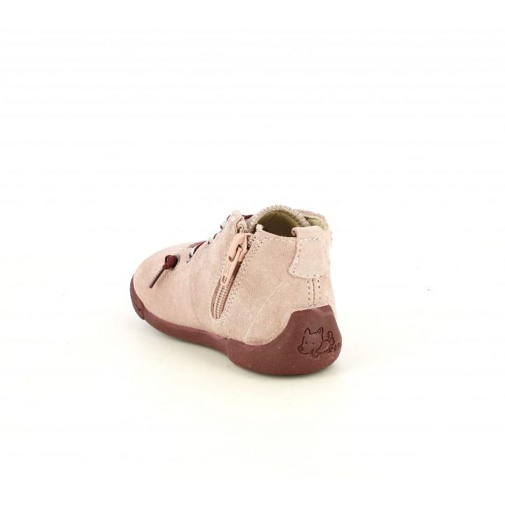Botines Vul·ladi rosas de piel con cordones elásticos - Querol online