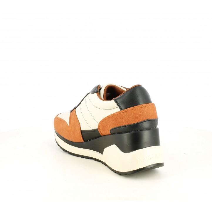Zapatillas deportivas Maria Mare marrones, negras y naranjas con plataforma - Querol online
