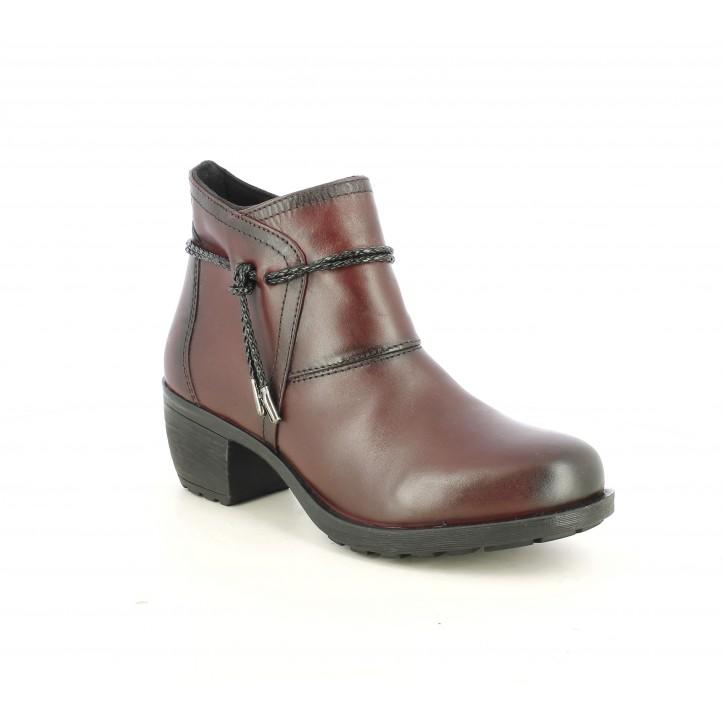 Botines tacón Suite009 de piel rojos con tira en el tobillo - Querol online
