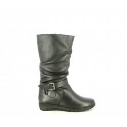 Botas planas Suite009 negras de piel con tira y hebilla en el tobillo - Querol online