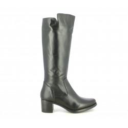 Botas tacón Suite009 altas de piel negras con cremallera lateral - Querol online