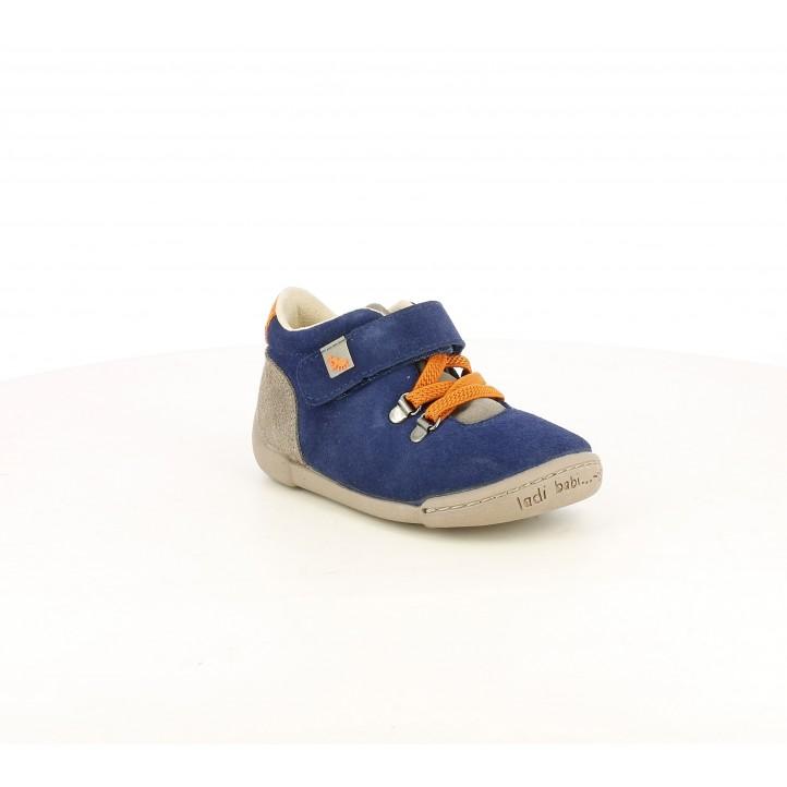 Botins Vul·ladi blaves de pell amb detalls marrons i taronges - Querol online