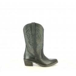 Botas tacón Redlove de media caña negras de piel estilo cowboy - Querol online