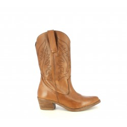 Botas tacón Redlove de media caña marrones de piel estilo cowboy - Querol online