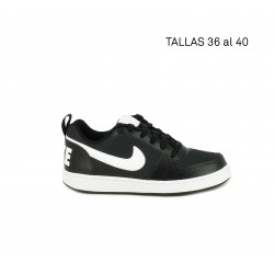 Sabatilles esport Nike Court borough low negra amb logotip en el taló