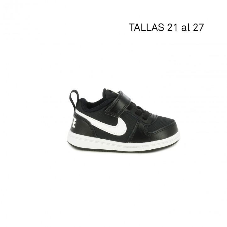 Zapatillas deporte Nike court borough low negra con logotipo en el talón - Querol online