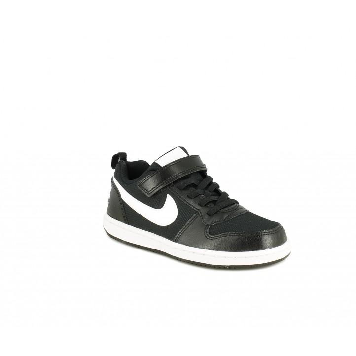 Sabatilles esport Nike Court borough low negra amb logotip en el taló - Querol online