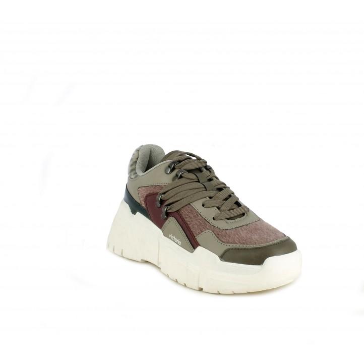 Zapatillas deportivas Victoria combinación con diferentes materiales con pelo de potro sintético - Querol online