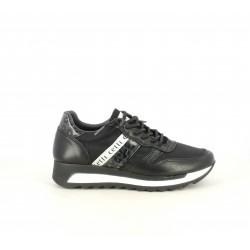 Zapatillas deportivas Cetti negros con cordones combinado en textil y piel - Querol online