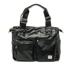 bolsos Maria Mare negro de charol con dos asas y tira ajustable - Querol online