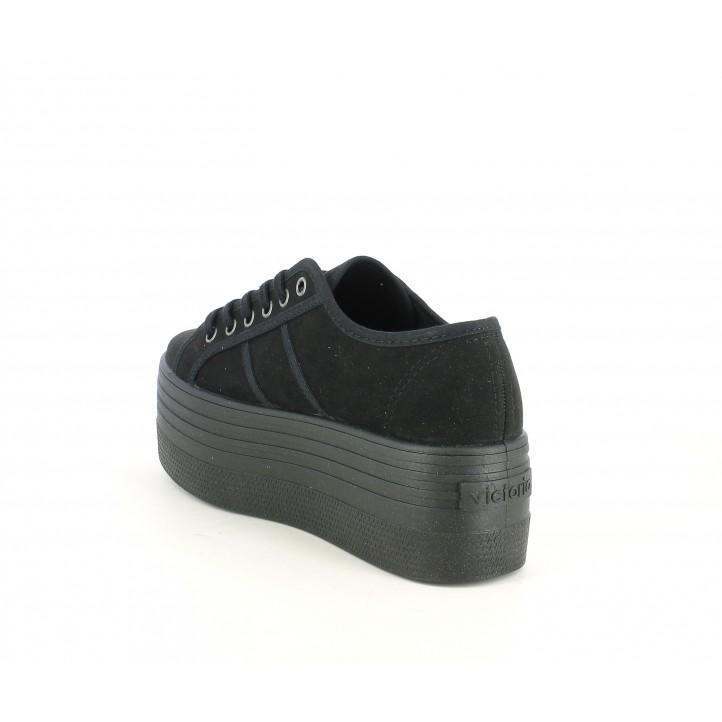 Zapatillas deportivas Victoria negras de cordones con plataforma de 5,8 cm - Querol online