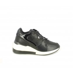 Zapatillas deportivas Funhouse negras con diferentes texturas con plataforma blanca y cordones - Querol online