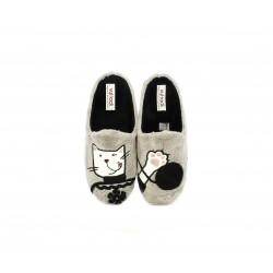 Zapatillas casa Vul·ladi marrones con dibujo de gato - Querol online