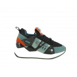 Zapatillas deportivas SixtySeven 67 combinado en negro y verde cuña de 5cm - Querol online
