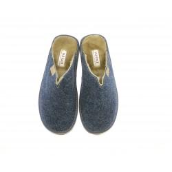 Zapatillas casa Vul·ladi combinadas en azul marino y marron - Querol online