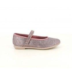 Merceditas Duvic textil metalizado, rosa con tira y velcro - Querol online