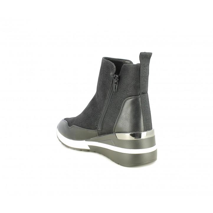 Botines D'Angela negros de plataforma con cremalles laterales - Querol online
