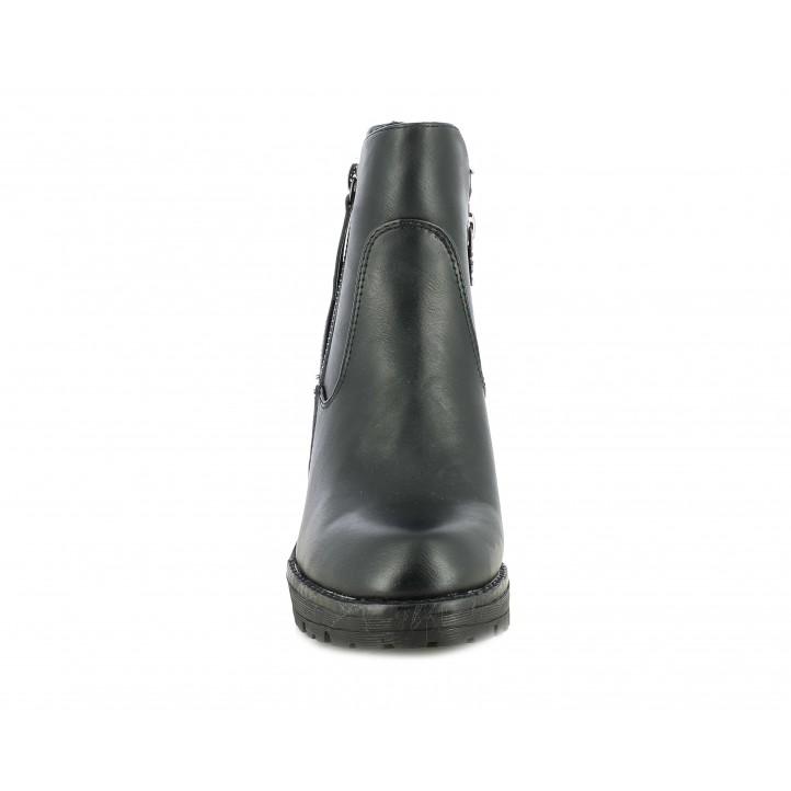 Botines tacón Xti negros con cremallera y tacón de 9,5 cm y 2cm de palaforma - Querol online