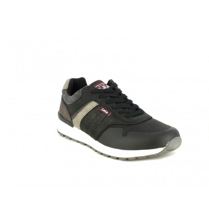 Zapatos sport Lois negras de cordones con detalles en gris textil - Querol online