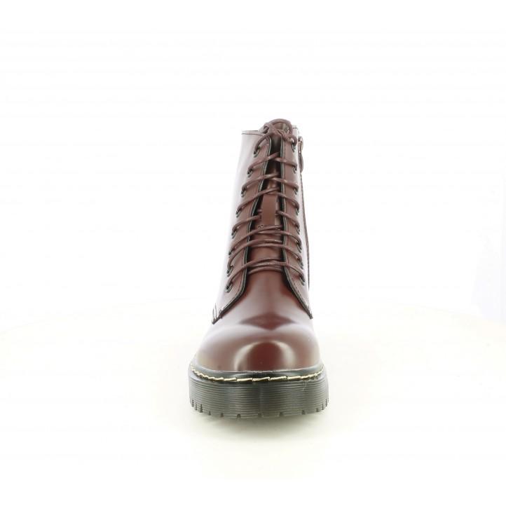 Botins Owel vermelles amb cremallera lateral i cordons - Querol online