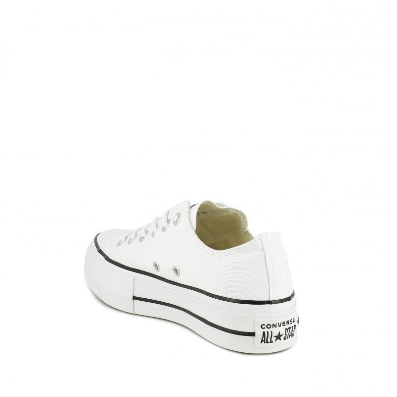 Zapatillas lona Converse blancas chuck taylor all star bajas con plataforma