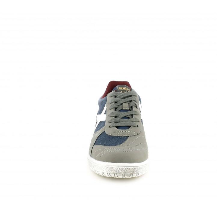 Zapatillas deportivas MUNICH combinada en azul jeans y gris - Querol online
