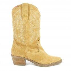Botas tacón Mustang de piel marrones estilo cowboy con bordado en la caña - Querol online