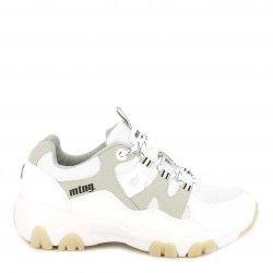 Zapatillas deportivas Mustang blancas y grises de cordones - Querol online