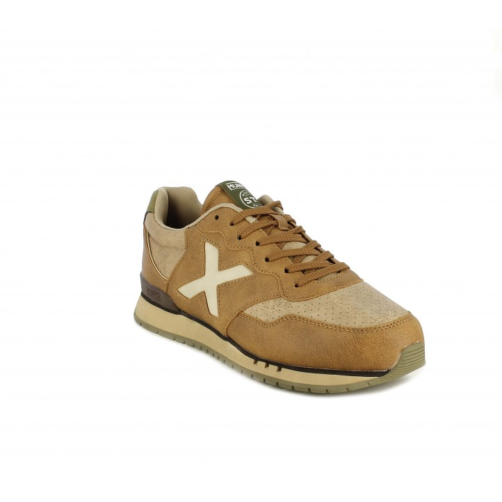 Zapatillas deportivas MUNICH dash marrones con detalles en kaki - Querol online