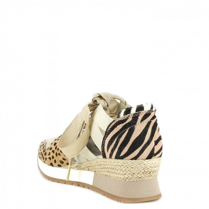Zapatillas deportivas Gioseppo con cuña interna de 3cm, corte abierto con piel natural animal print - Querol online