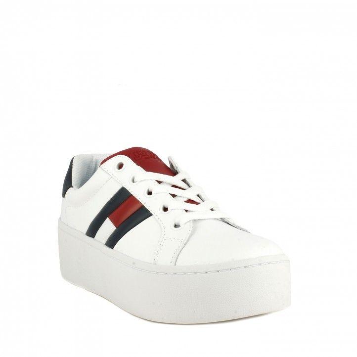 Sabatilles esportives Tommy Hilfiger blanques amb cordons i plataforma de 5cm amb logo tommy jeans - Querol online