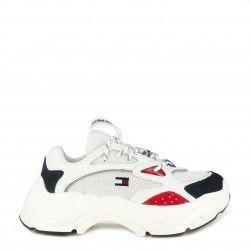 Zapatillas deportivas Tommy Hilfiger blancas fashion chunky con cordones y combinado con diferentes tejidos