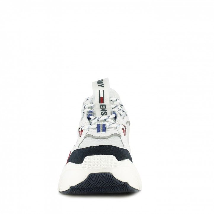 Zapatillas deportivas Tommy Hilfiger blancas fashion chunky con cordones y combinado con diferentes tejidos - Querol online