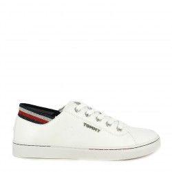 Zapatillas deportivas Tommy Hilfiger blancas con cordones acabado brillante en la parte trasera