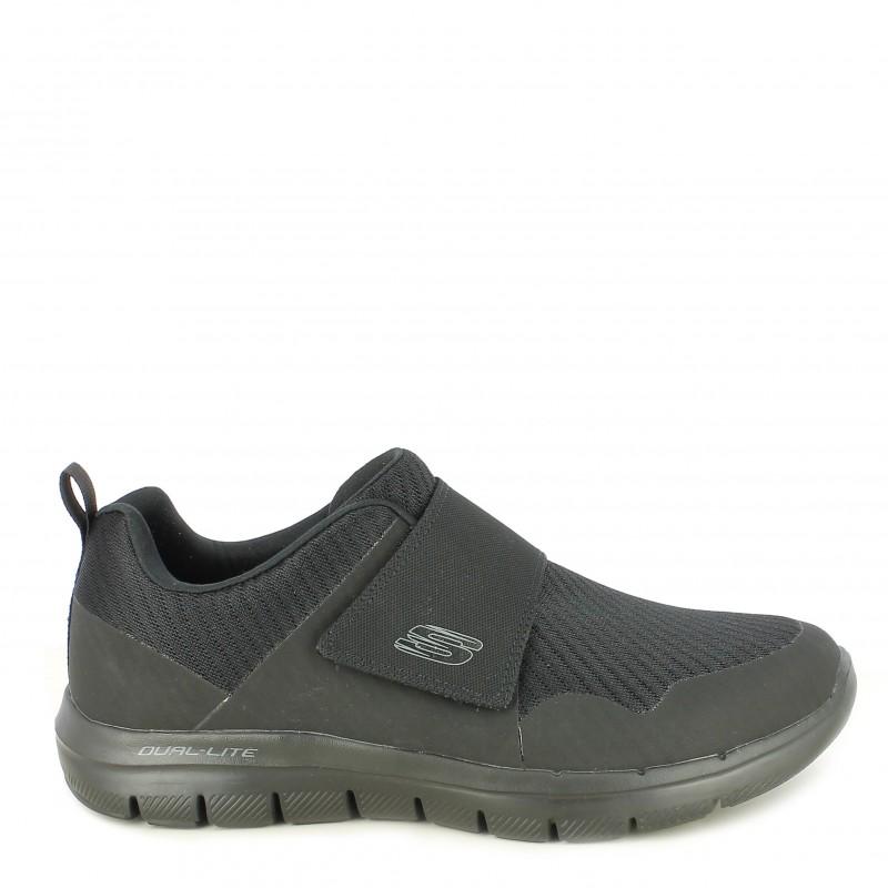 Zapatillas deportivas Skechers negras con cierre de velcro elástico plantilla memory foam
