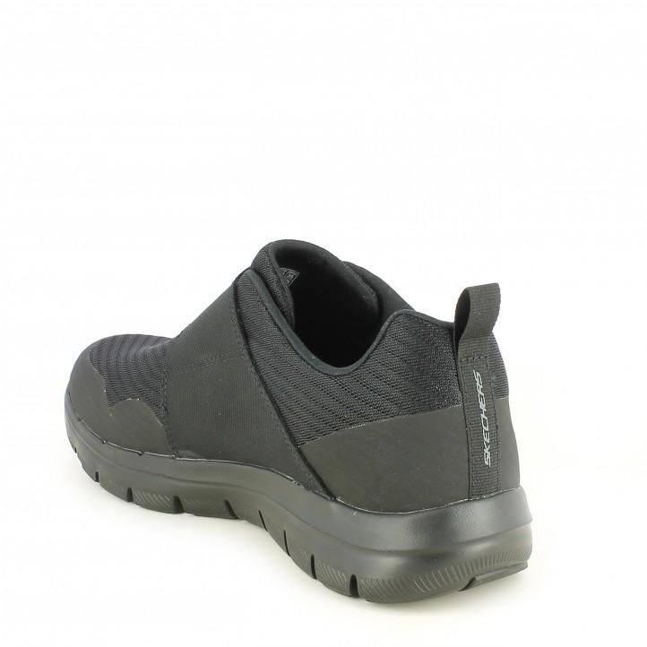 Zapatillas deportivas Skechers negras con cierre de velcro elástico plantilla memory foam - Querol online