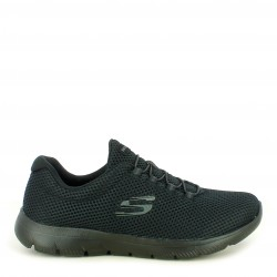 Zapatillas deportivas Skechers negras con cordon elástico plantilla memory foam - Querol online