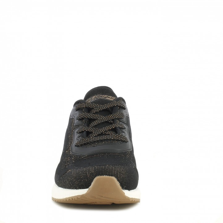 Zapatillas deportivas Skechers negras knit con detalles metálicos plantilla memory foam - Querol online