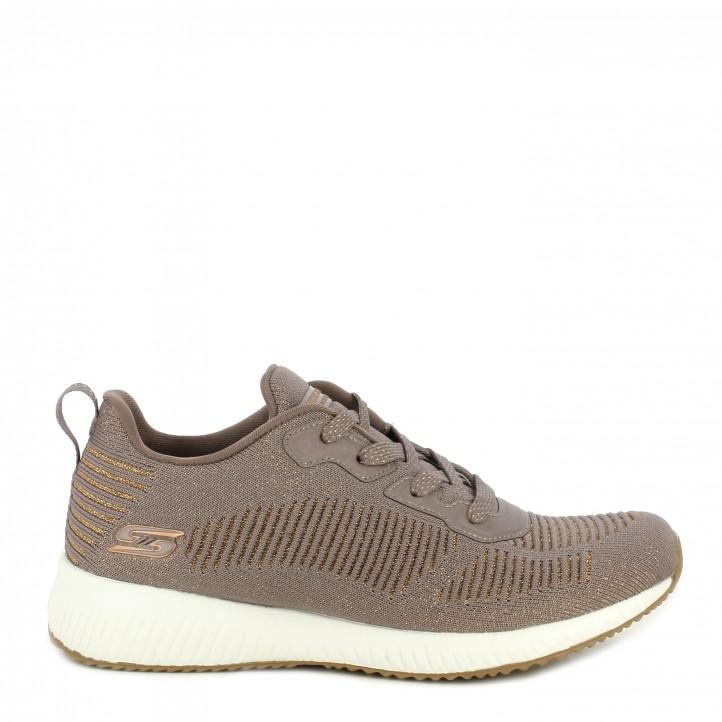 Zapatillas deportivas Skechers morado knit con detalles metálicos plantillas memory foam - Querol online