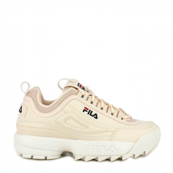Zapatillas deportivas Fila rosa palo con cordones modelo disruptor low - Querol online